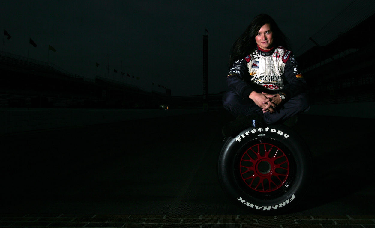 Danica Patrick poses for photo shoot before 2005 Indianapolis 500