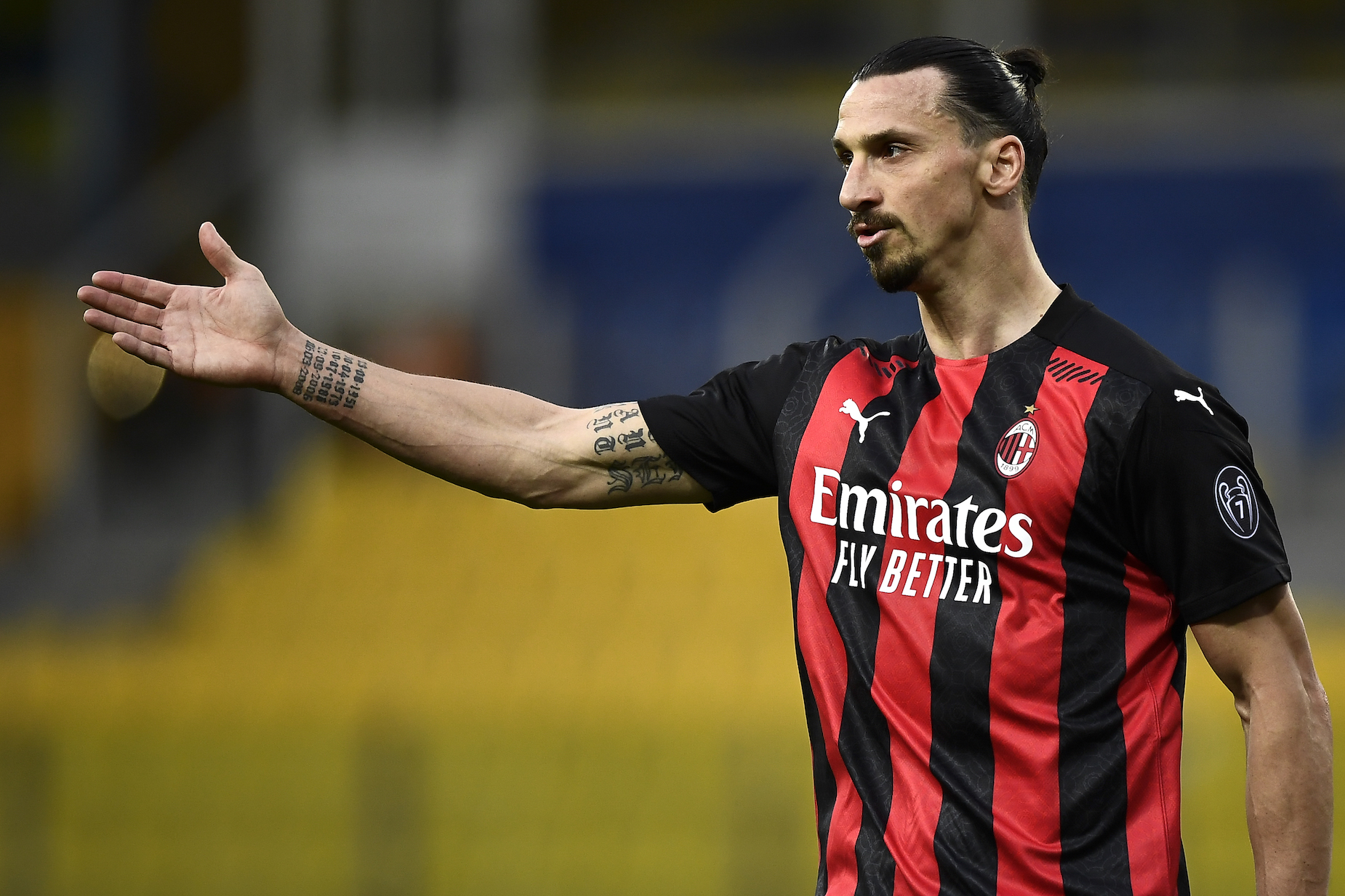 AC MIlan striker Zlatan Ibrahimovic during a 2021 match