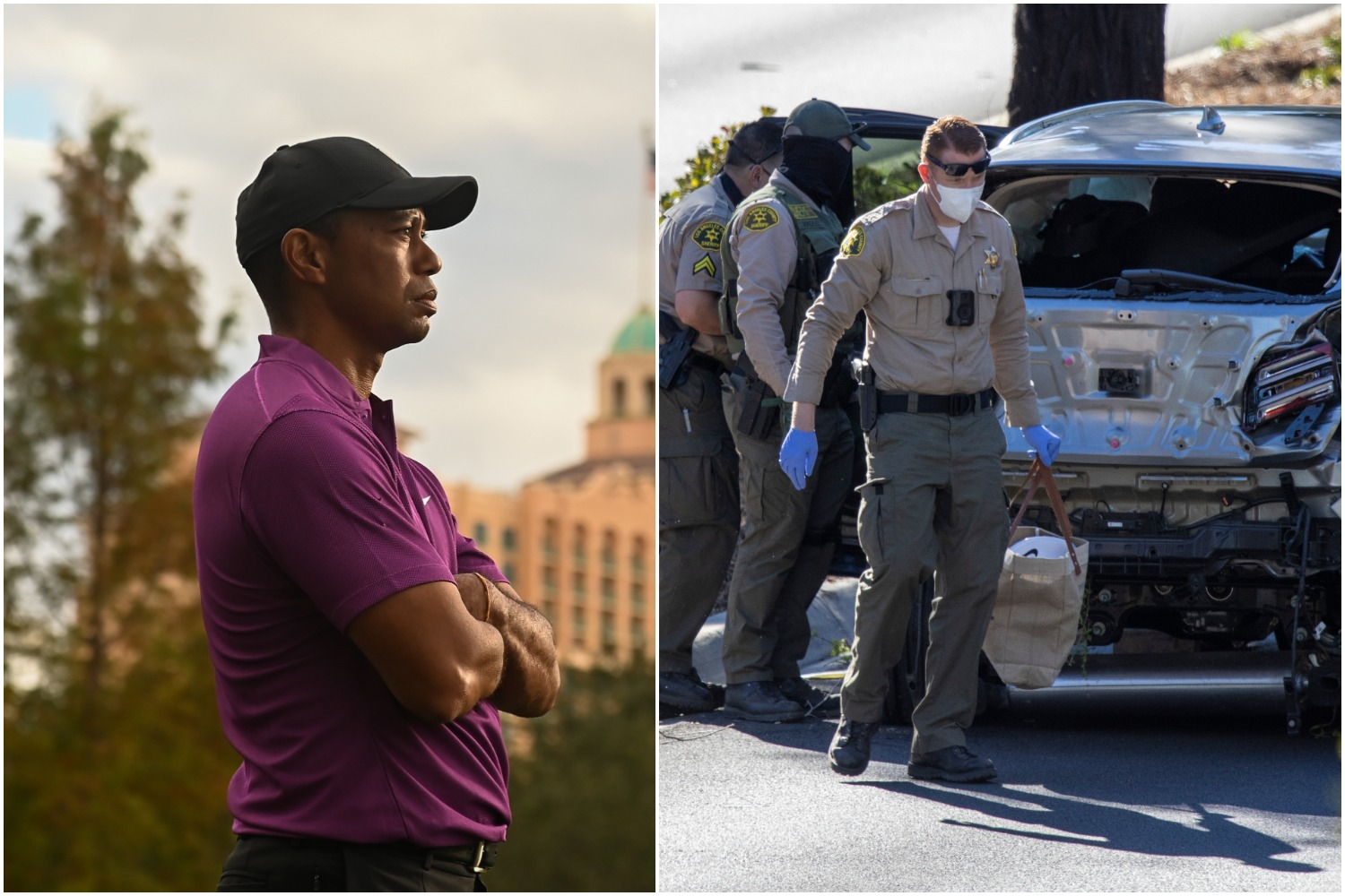Golf legend Tiger Woods looks ahead as police deal with the aftermath of his car accident.
