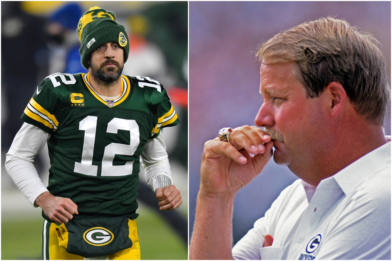 Aaron Rodgers jogs off the field as former Green Bay Packers coach Mike Holmgren looks on.