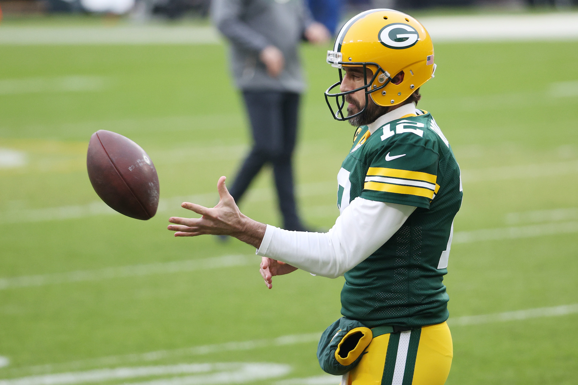 Green Bay Packers quarterback Aaron Rodgers during pregame warm-ups