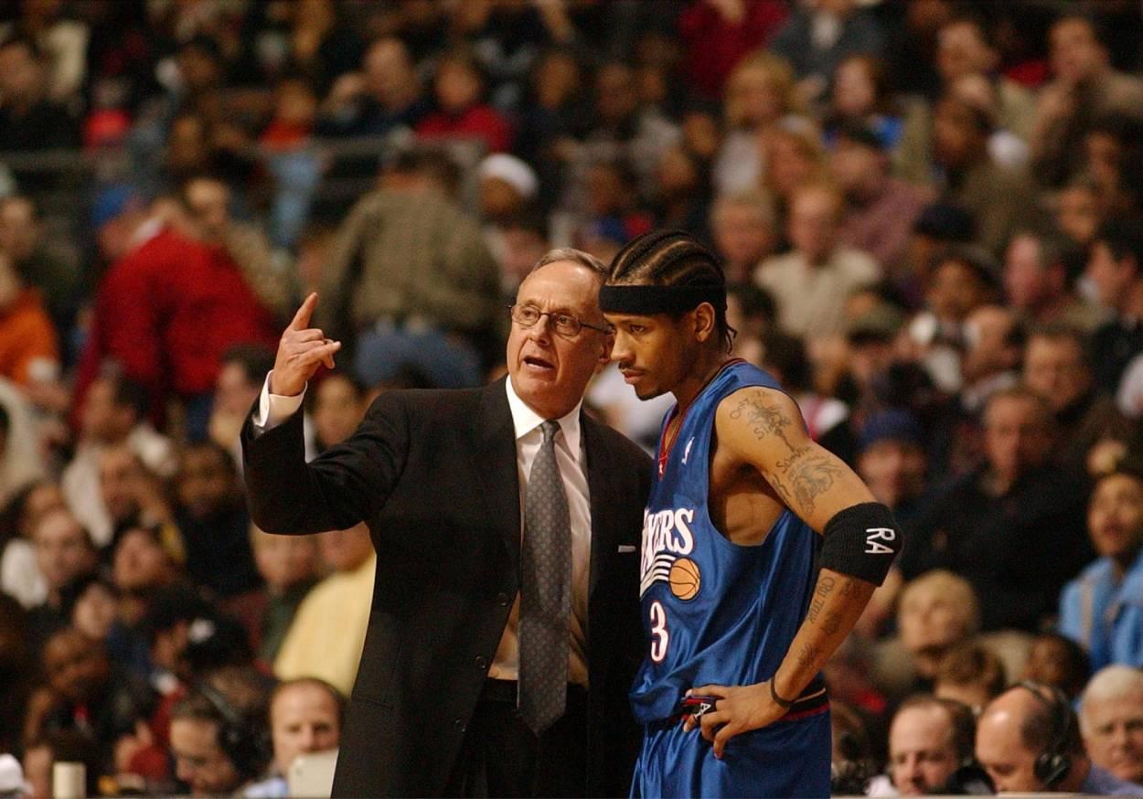 NBA legend Allen Iverson (R) and Philadelphia 76ers head coach Larry Brown.