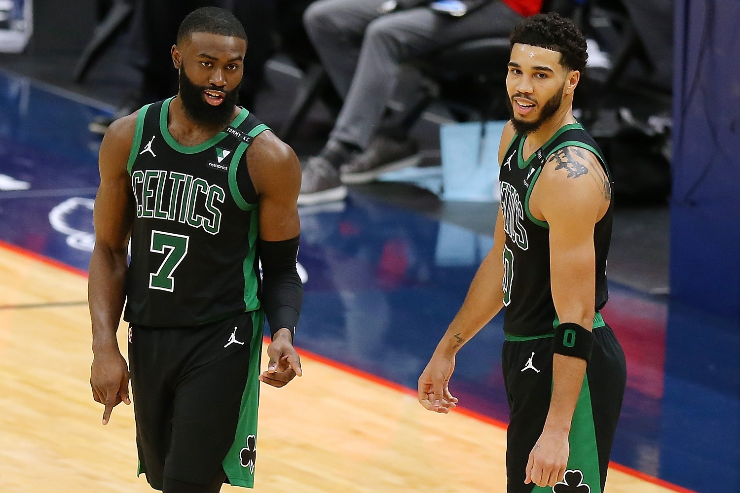 Jaylen Brown  and Jayson Tatum should be the core of the Boston Celtics for years to come, but the organization has not improved the remainder of the roster in the past year. Jonathan Bachman/Getty Images