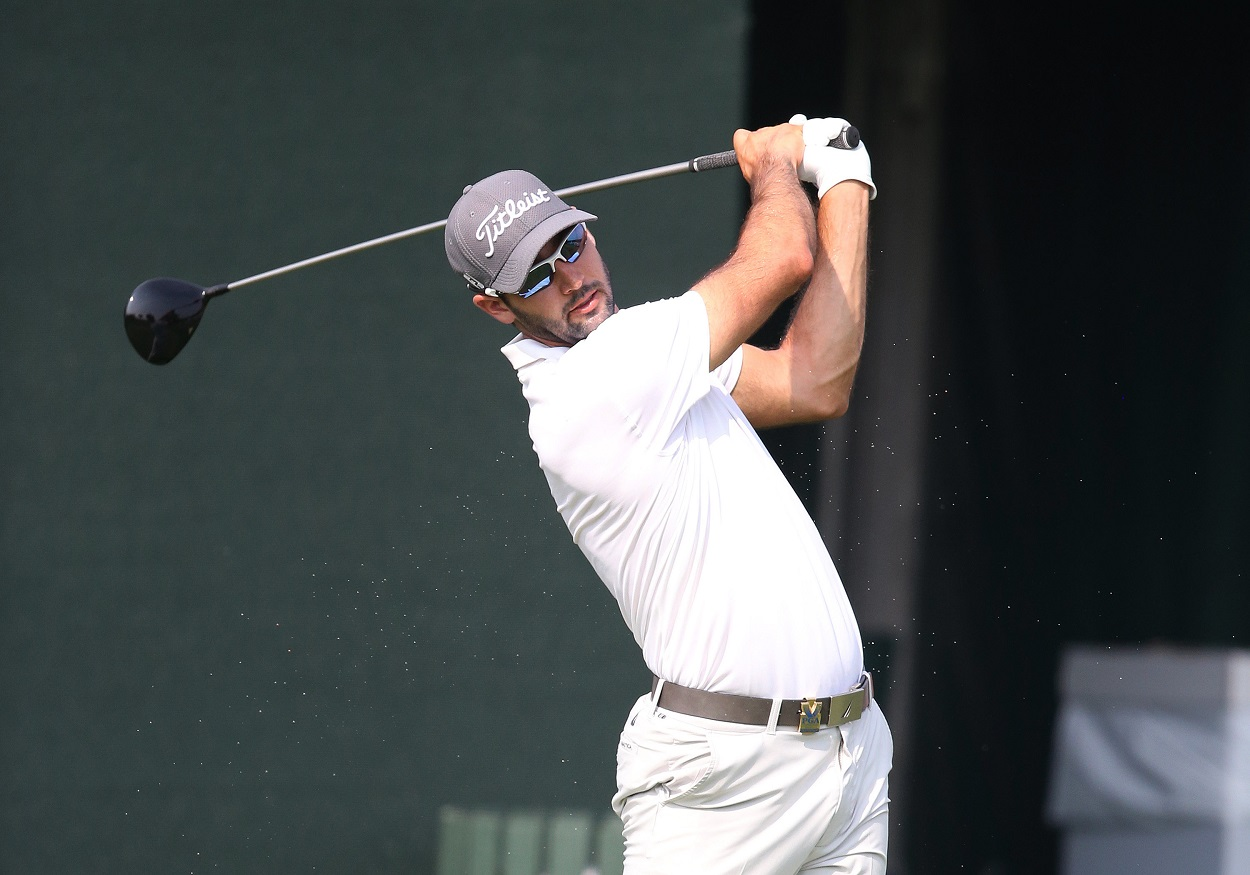 Cameron Tringale tees off during a practice round ahead of the 2014 PGA Championship at Valhalla
