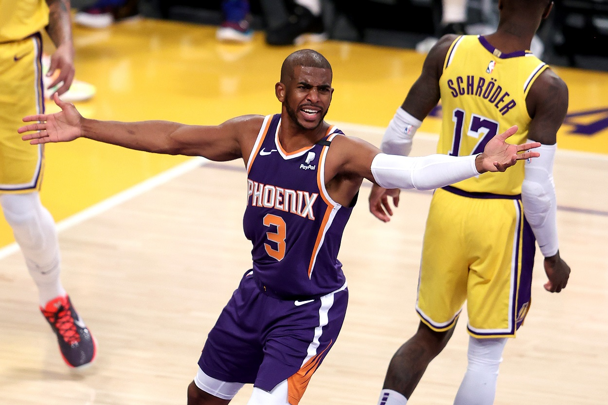 Chris Paul calls for a foul during the Phoenix Suns' Game 3 loss to the LA Lakers