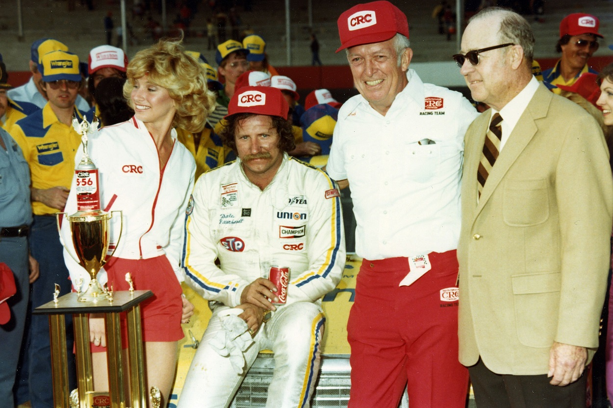 Dale Earnhardt Sr. following his victory at the NASCAR Cup Series 1982 Rebel 500 at Darlington Raceway