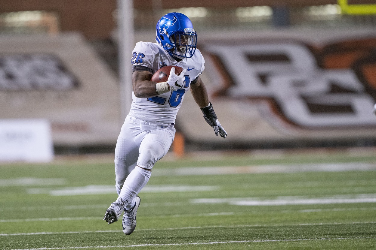Jaret Patterson runs for the Buffalo Bulls against Kent State in November 2020