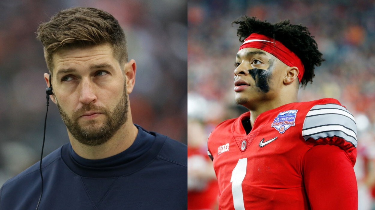 Former Chicago Bears quarterback Jay Cutler and current Bears QB Justin Fields.