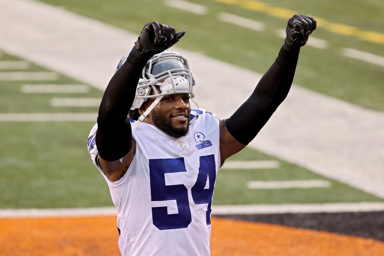 Dallas Cowboys linebacker Jaylon Smith celebrates a win over the Cincinnati Bengals in December 2020