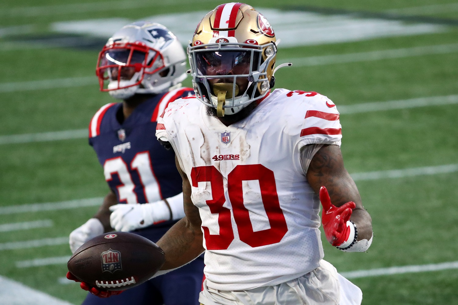 Jeff Wilson Jr. scored 10 touchdowns in his third NFL season with the NFL's San Francisco 49ers. | Maddie Meyer/Getty Images)