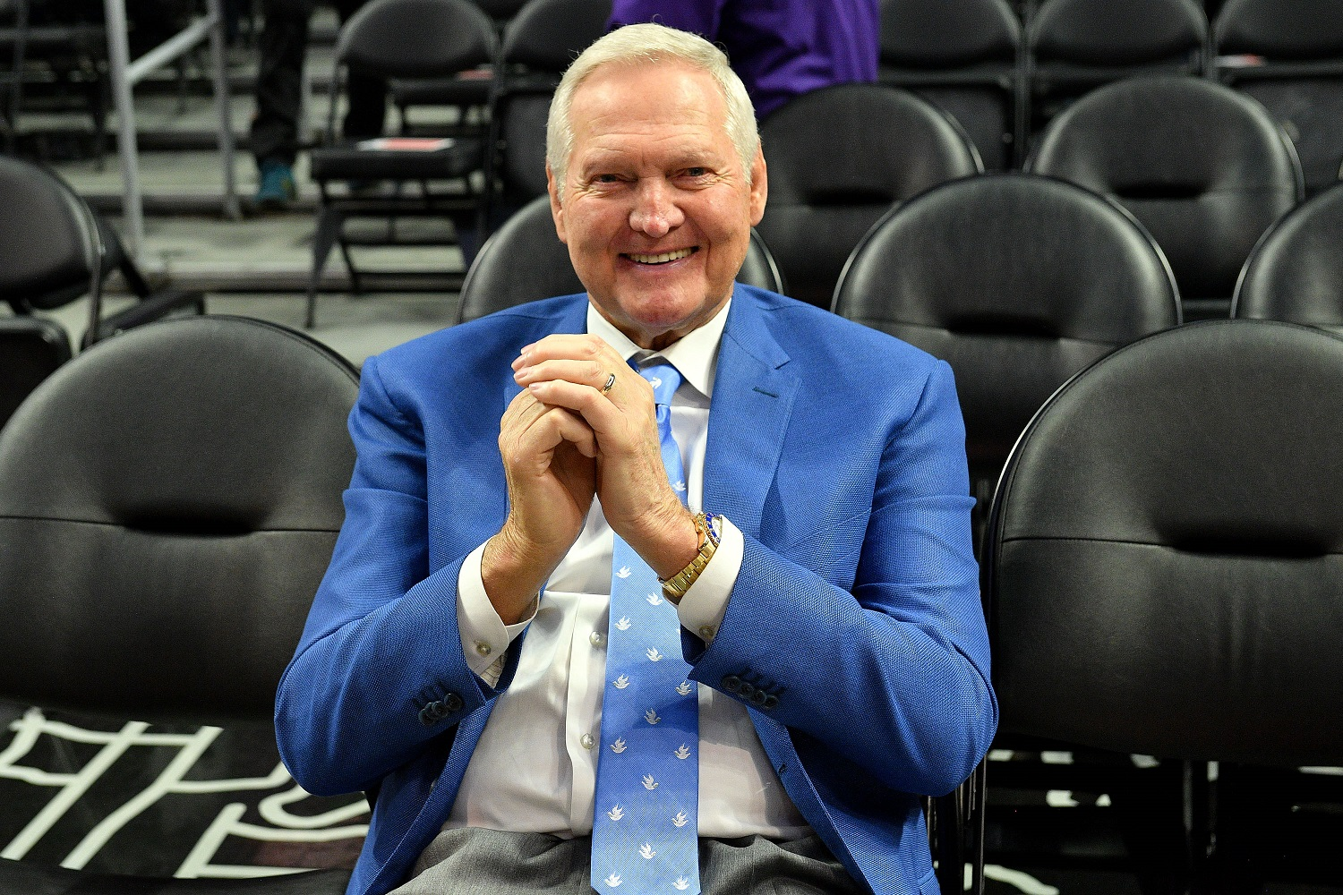 Jerry West can't believe Jeanie Buss left him off the list of the most important figures in Los Angeles Lakers history. | Allen Berezovsky/Getty Images