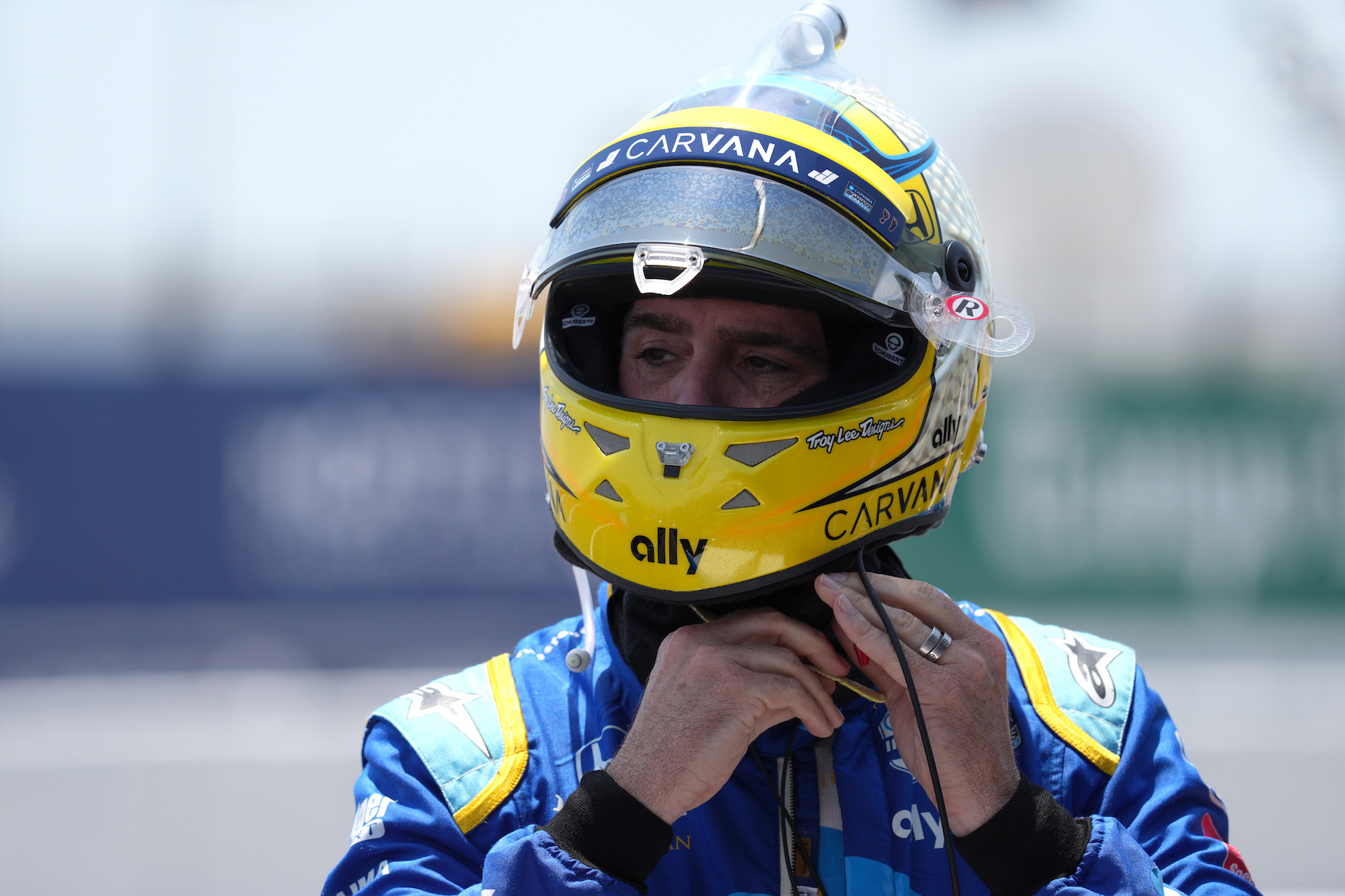 Jimmie Johnson gets ready ahead of a 2021 IndyCar qualifier.