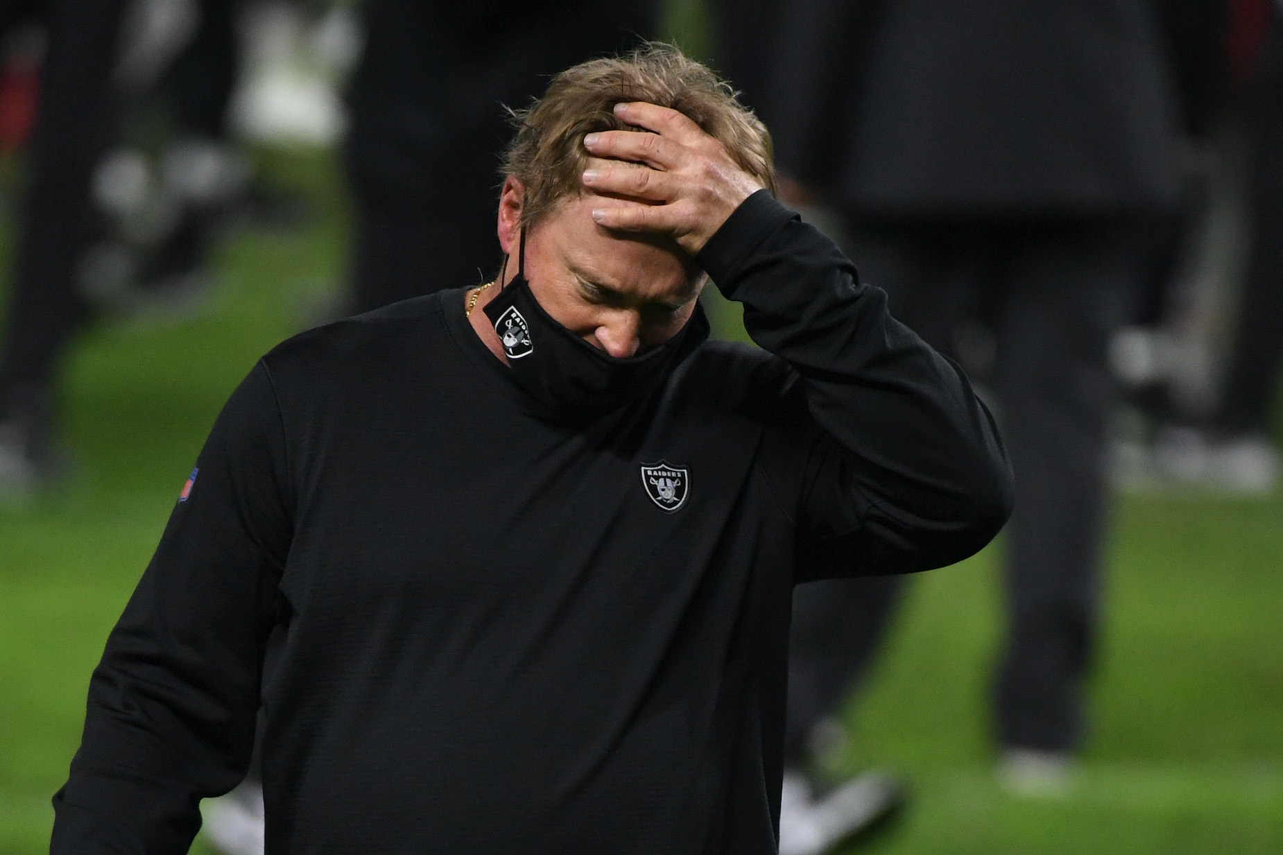 Raiders head coach Jon Gruden reacts to a loss.