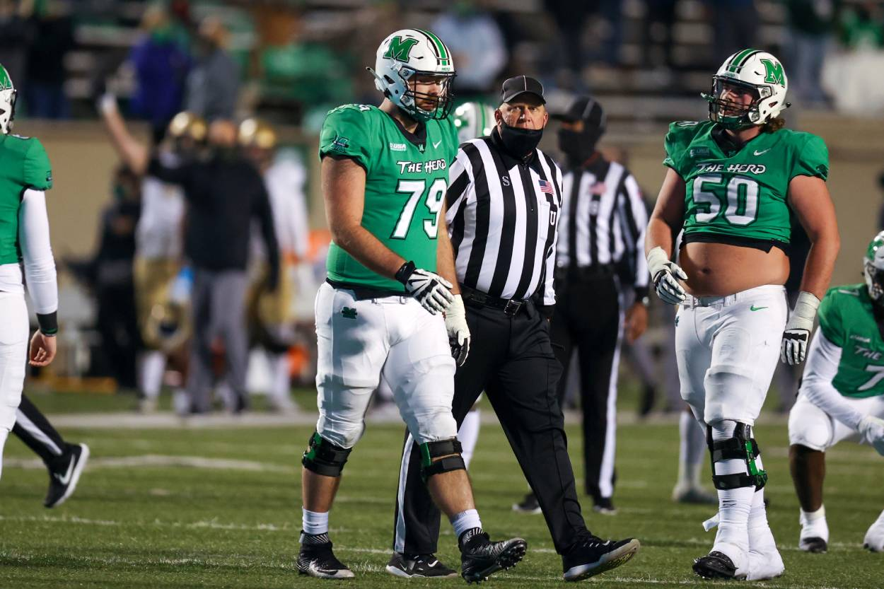 The Dallas Cowboys drafted Marshall offensive lineman Josh Ball in the 2021 NFL draft.