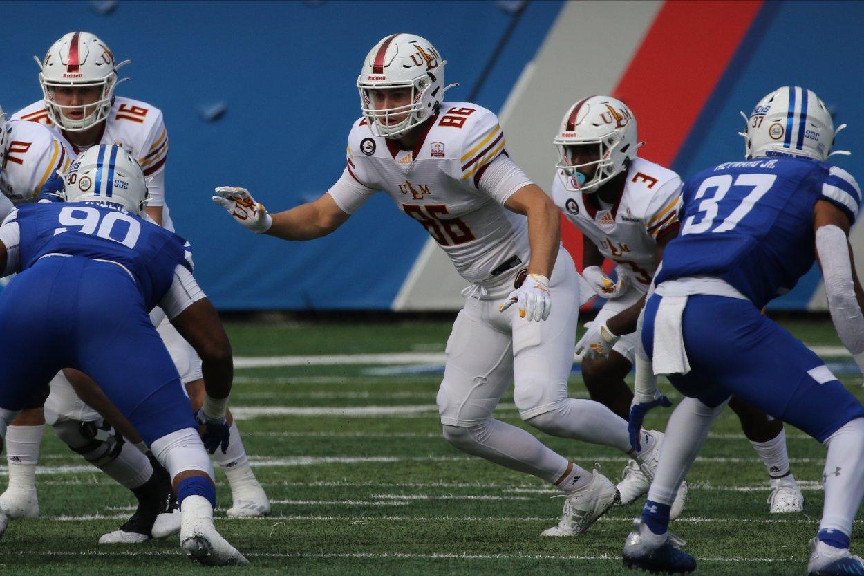 Louisiana of Monroe tight end Josh Pederson in 2020.