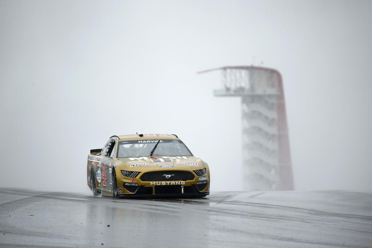 Kevin Harvick drives through rainy conditions at COTA
