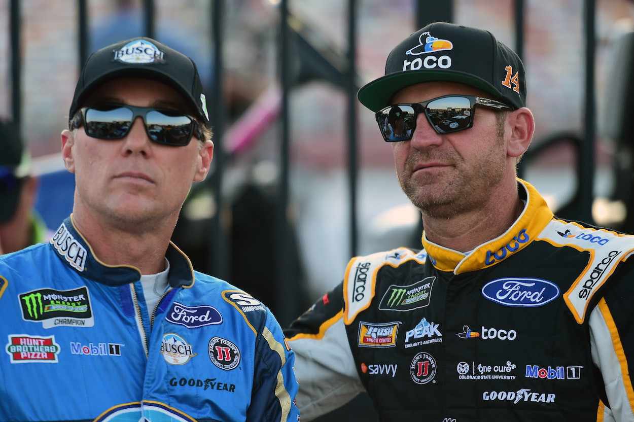 Kevin Harvick and Clint Bowyer stand side-by-side before qualifying