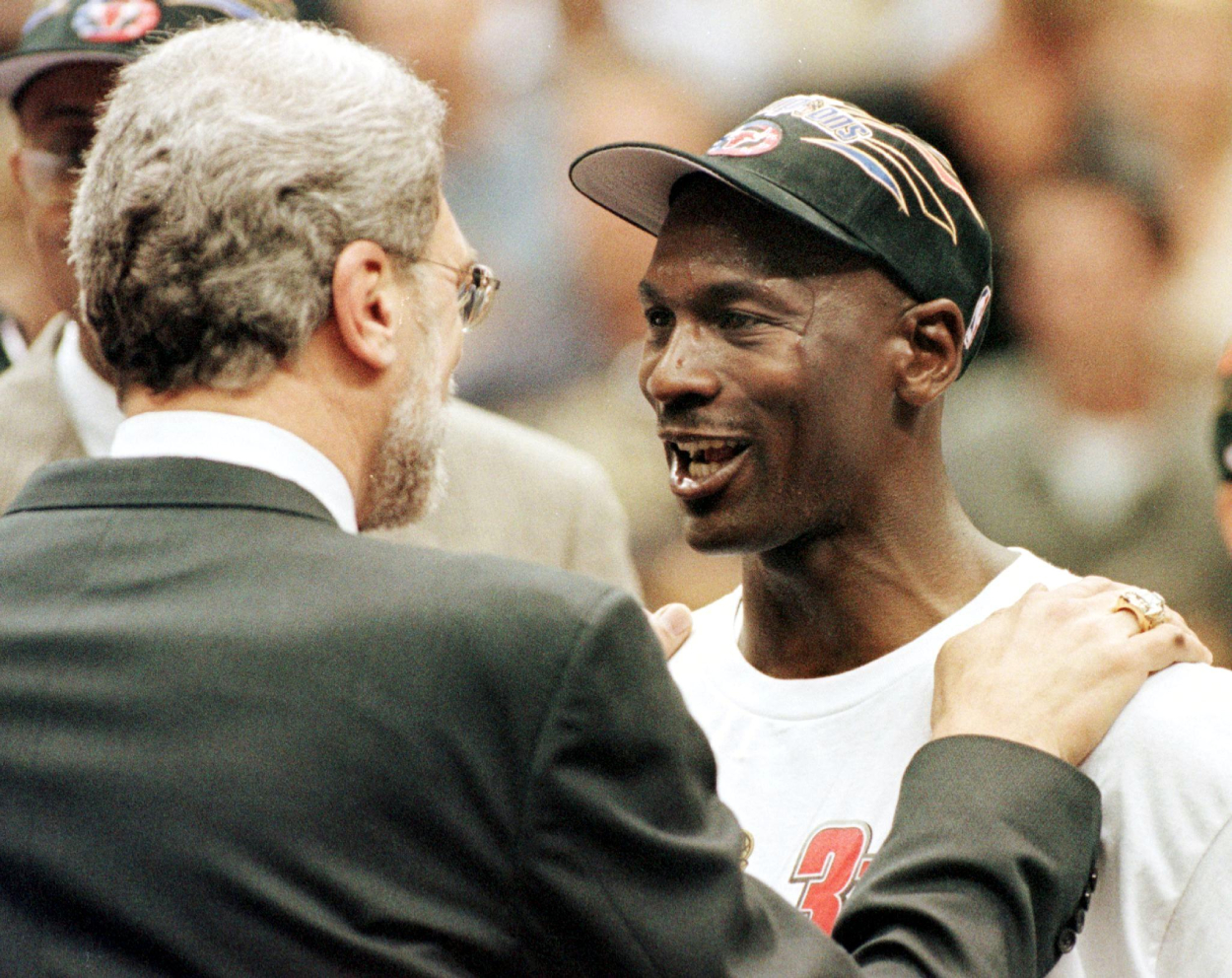 Chicago Bulls legend Michael Jordan after winning the 1998 NBA Finals.