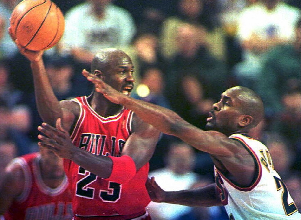 Michael Jordan and Gary Payton, who had their share of battles over the years, meet in the 1996 NBA Finals.