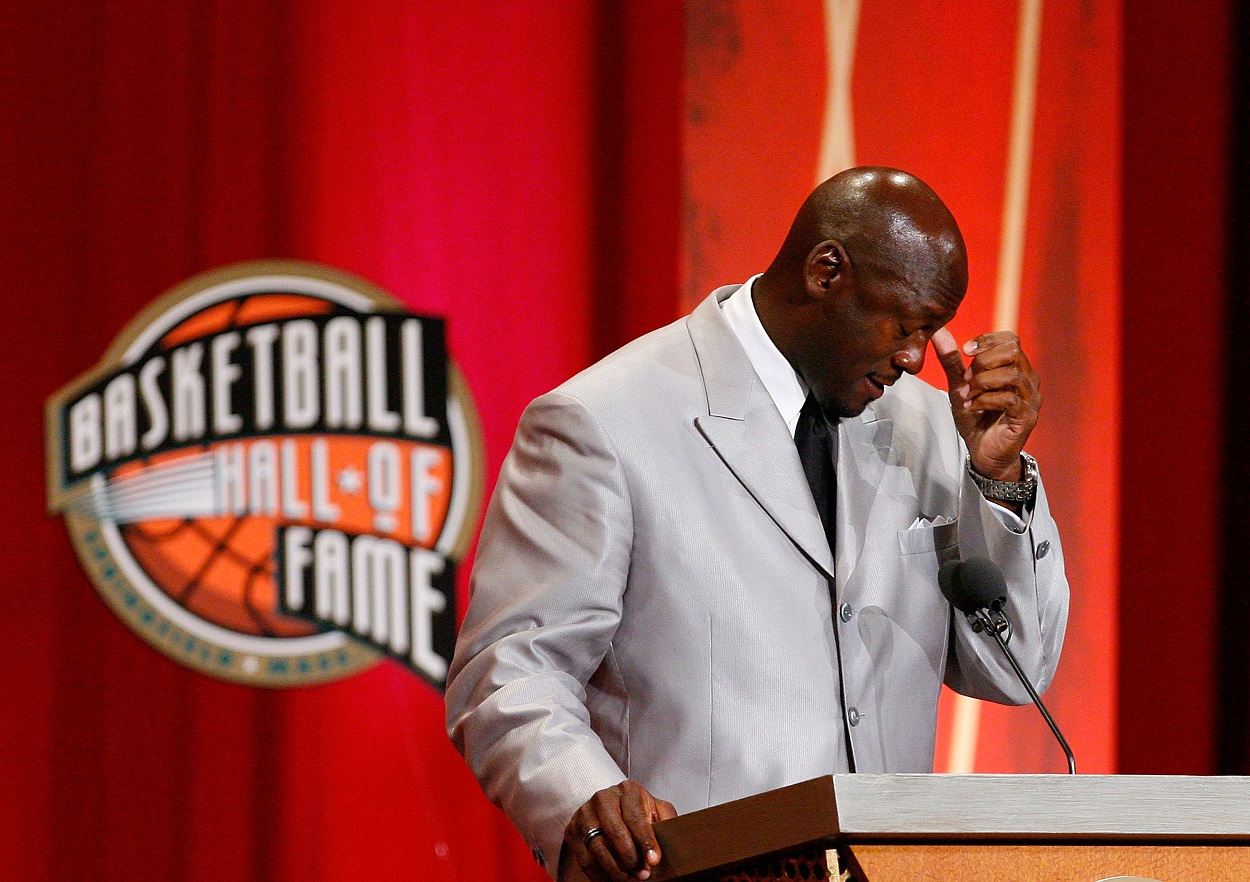 Michael Jordan speaks during his Hall of Fame induction in 2009