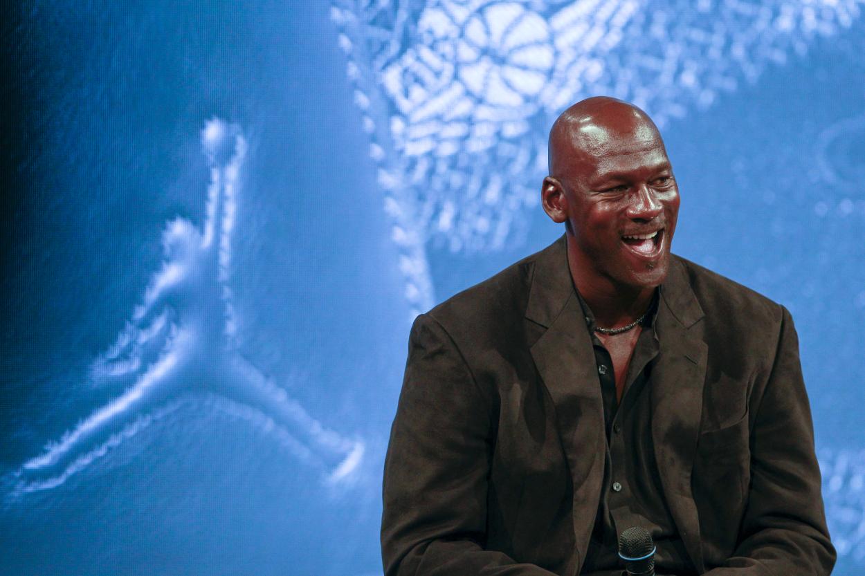 Michael Jordan at a celebration for his Jordan Brand.