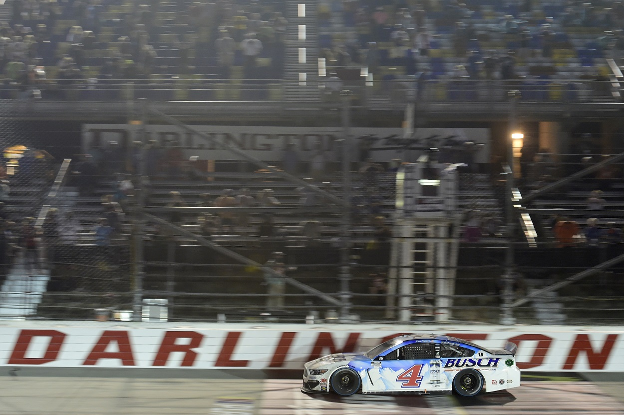 Kevin Harvick crosses the finish line at Darlington Raceway to win the 2020 NASCAR Cup Series Cook Out Southern 500