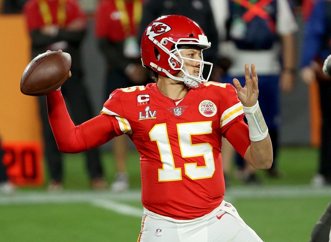 Kansas City Chiefs quarterback Patrick Mahomes winds up for a pass in Super Bowl 55