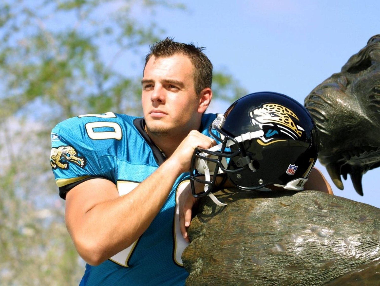 Former NFL player Patrick Venzke poses for a picture in his Jacksonville Jaguars uniform.
