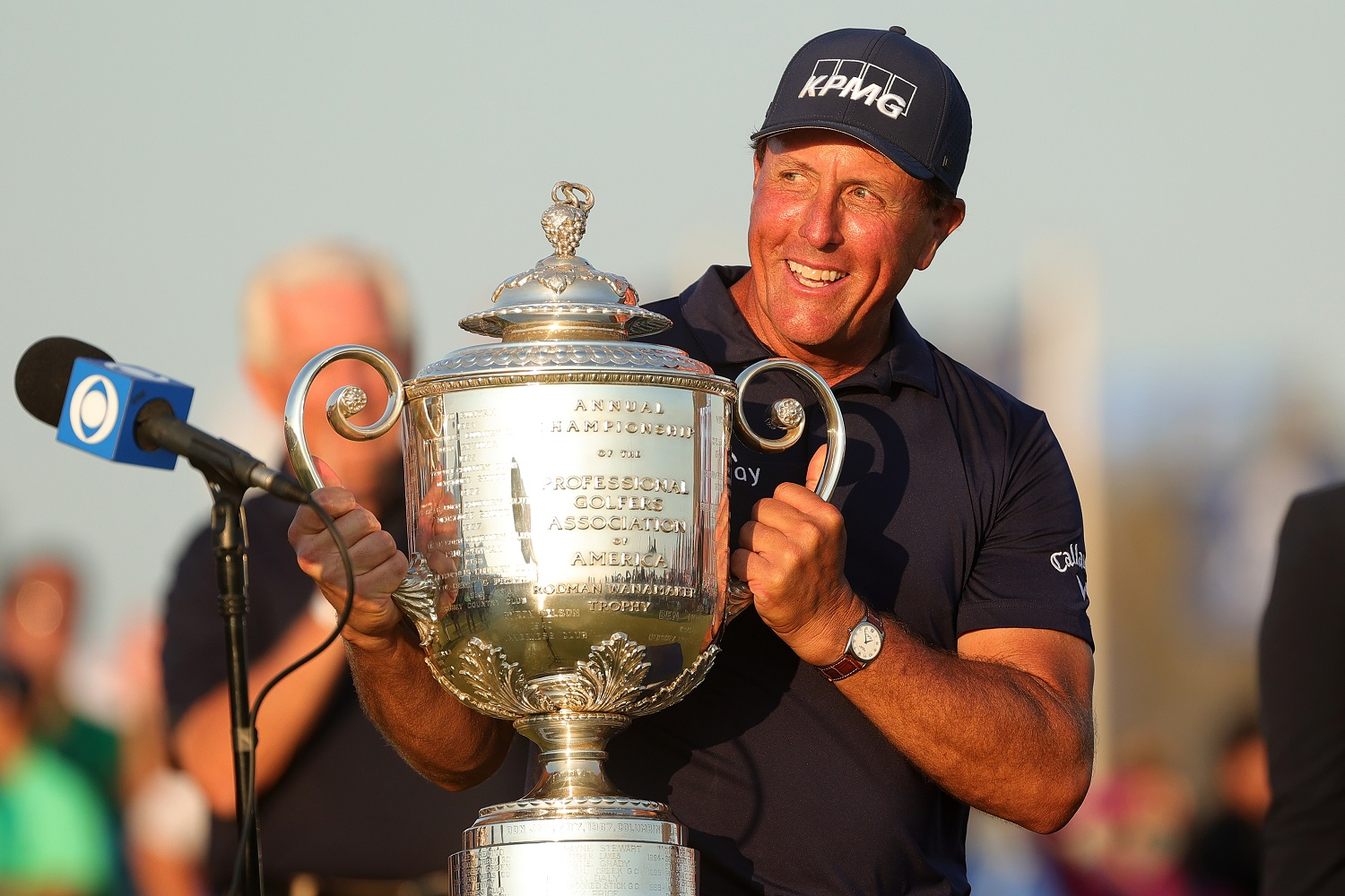 Phil Mickelson celebrates with the Wanamaker Trophy after winning the PGA Championship held at the Ocean Course of Kiawah Island Golf Resort in South Carolina. | Photo by Stacy Revere/Getty Images