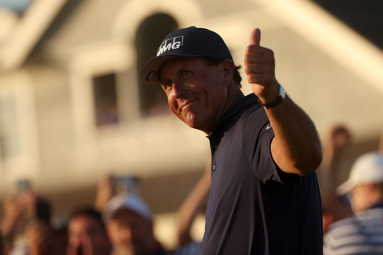Phil Mickelson gives a thumbs up after winning the 2021 PGA Championship