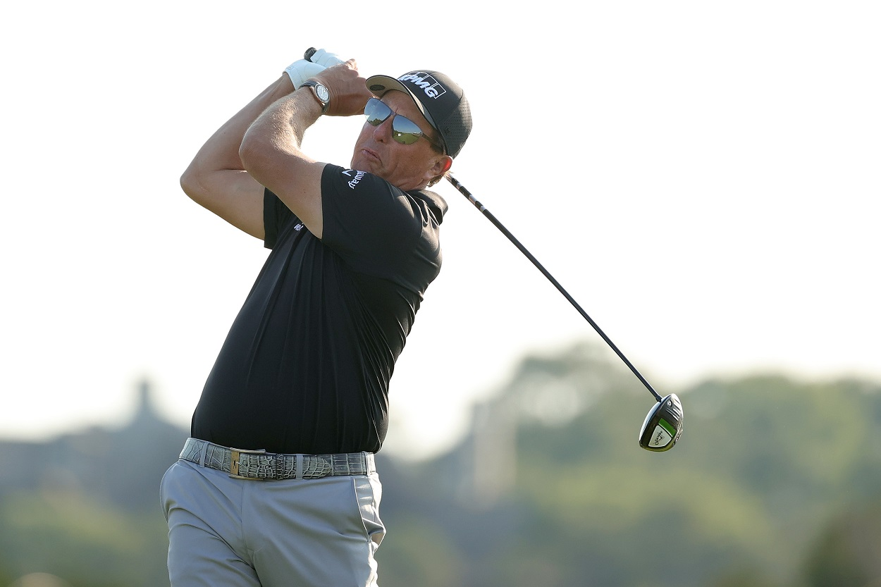 Phil Mickelson tees off during the second round of the 2021 PGA Championship