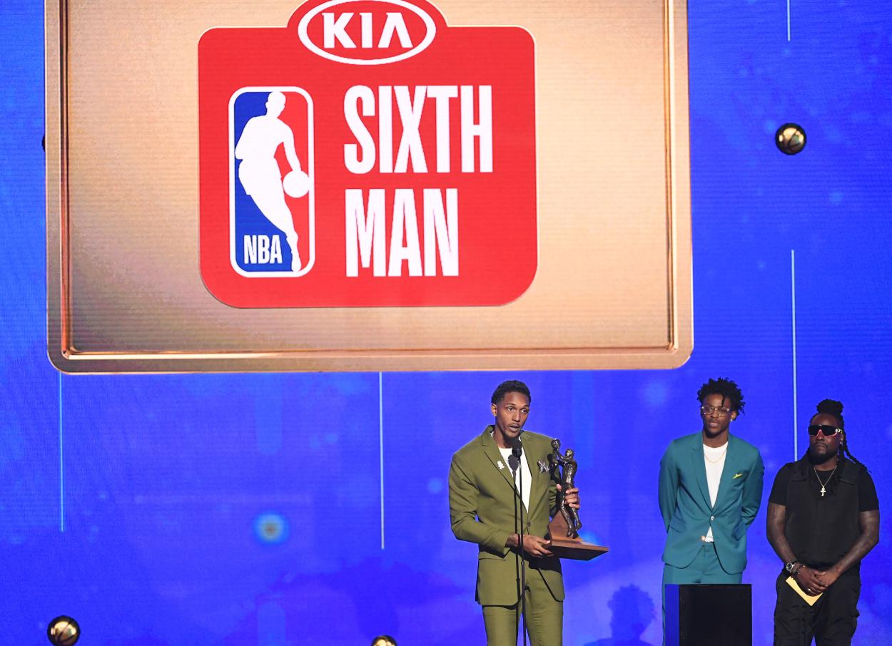 The presentation of the 2019 NBA Sixth Man of the Year award.