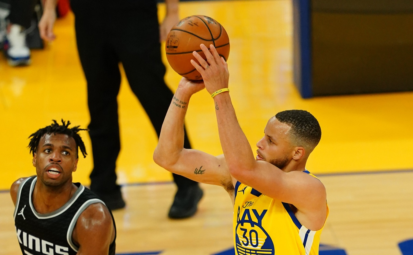 Stephen Curry of the Golden State Warriors is about to lead the NBA in 3-pointers made for the sixth time in nine seasons. | Daniel Shirey/Getty Images