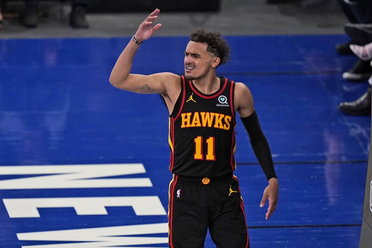 Trae Young during the Atlanta Hawks' Game 1 victory over the New York Knicks in the 2021 NBA playoffs