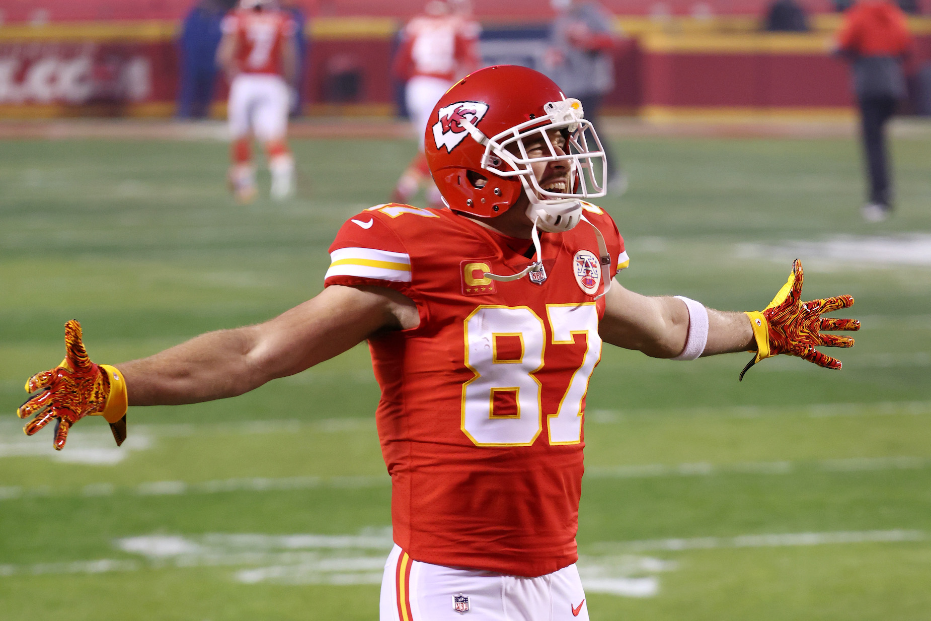 Tight end Travis Kelce reacts on the field during a Kansas City Chiefs game.