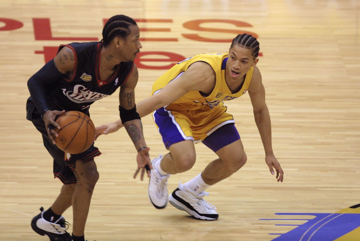 Allen Iverson (L) and Tyronn Lue in 2001.
