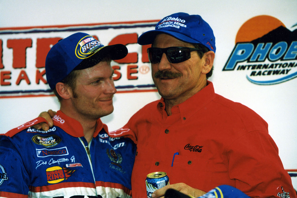 Dale Earnhardt Jr. and father celebrate win