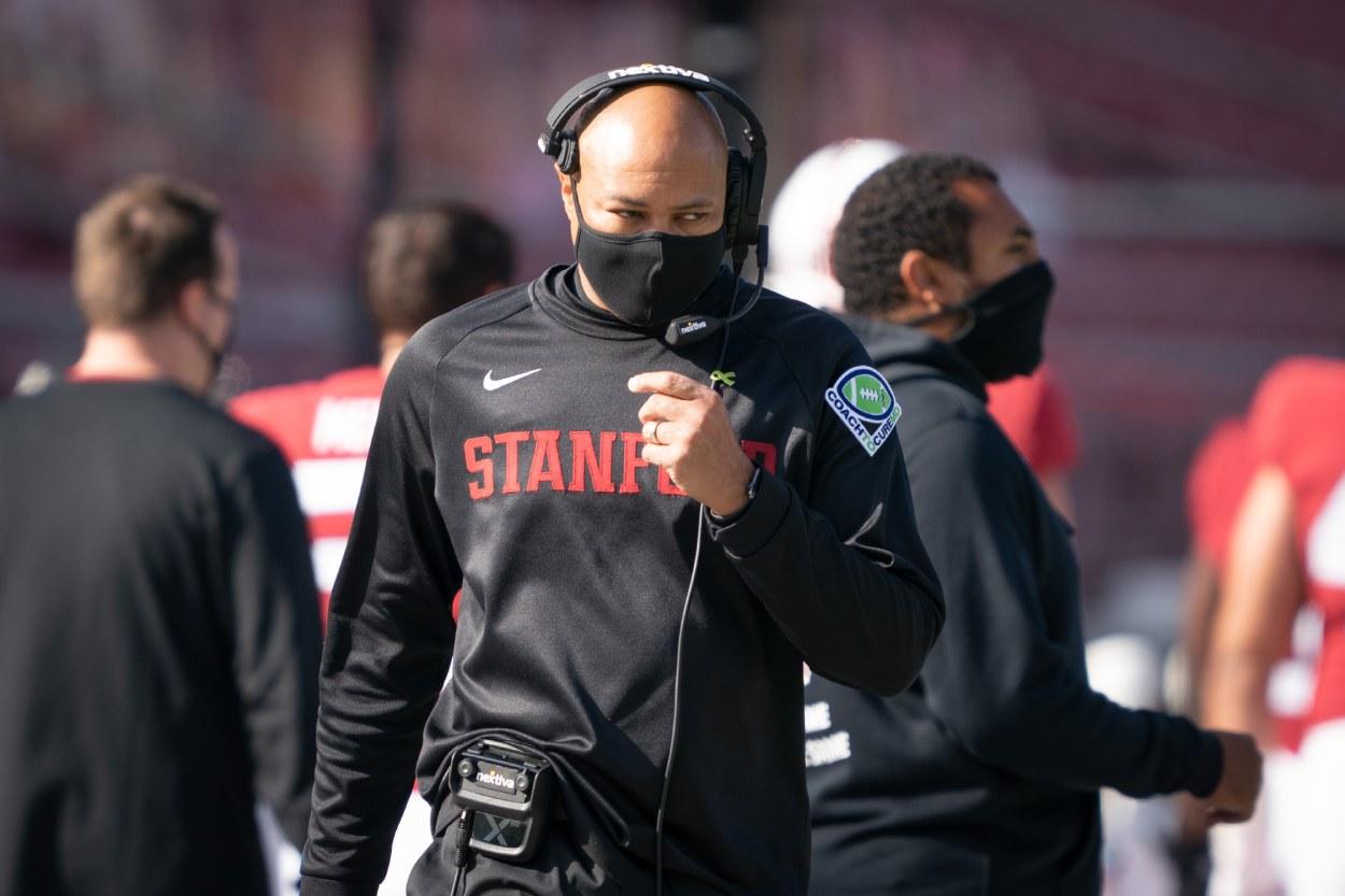 Stanford head football coach David Shaw in 2020.