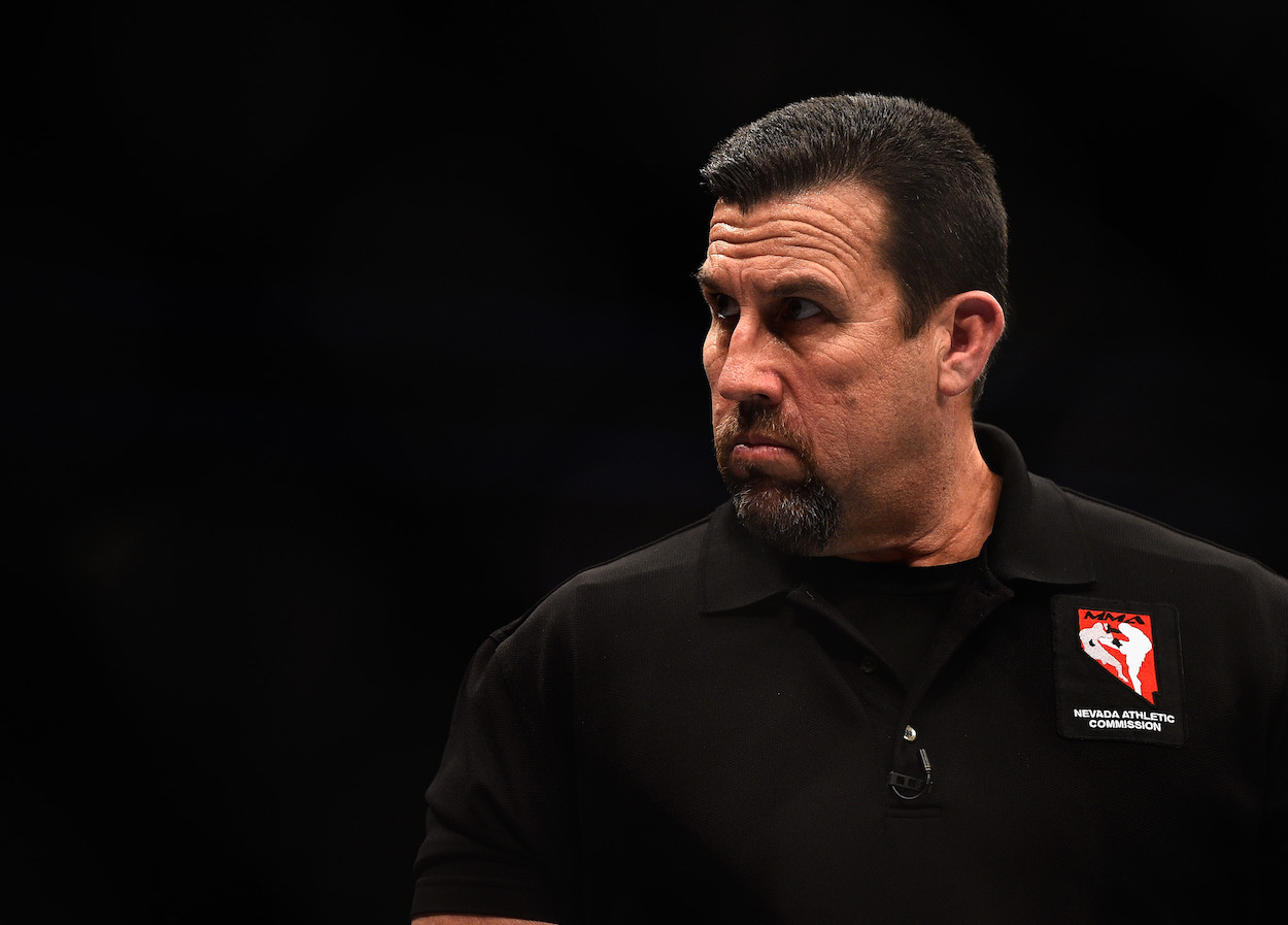 UFC referee John McCarthy looks on during UFC fight