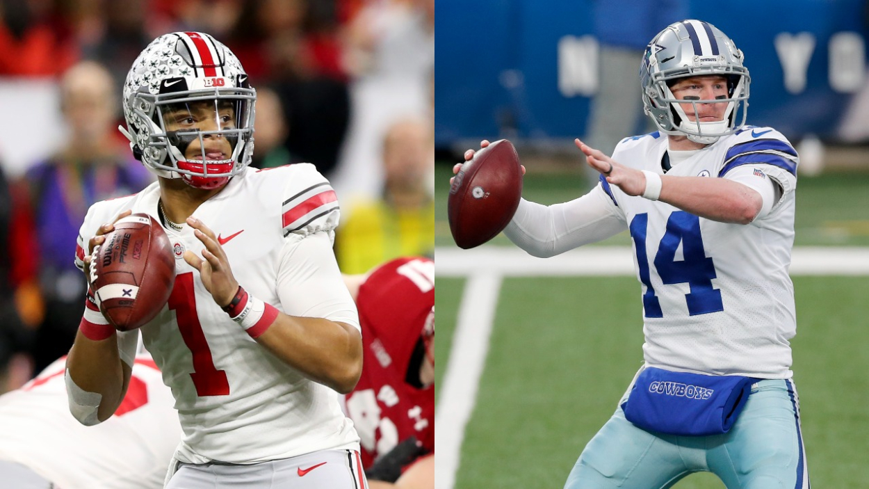Bears rookie quarterback Justin Fields and veteran QB Andy Dalton.