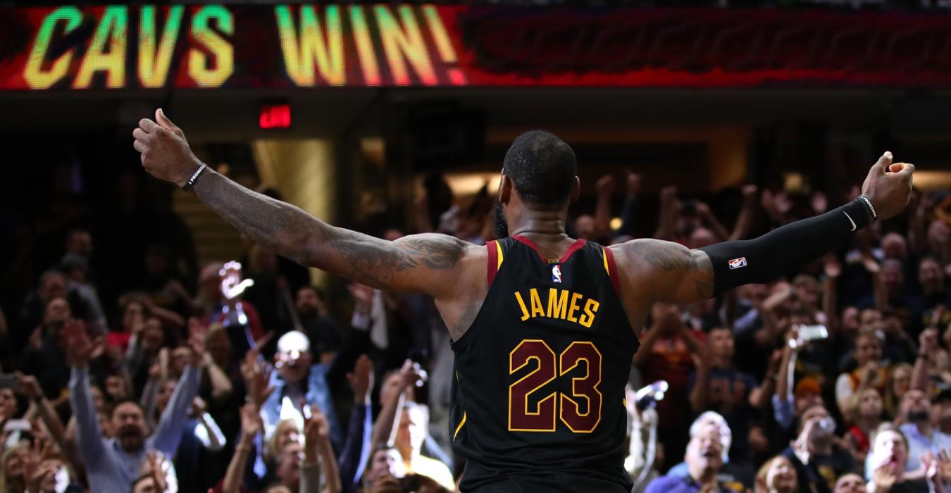 Cavs legend LeBron James after hitting a game-winning shot in 2018.