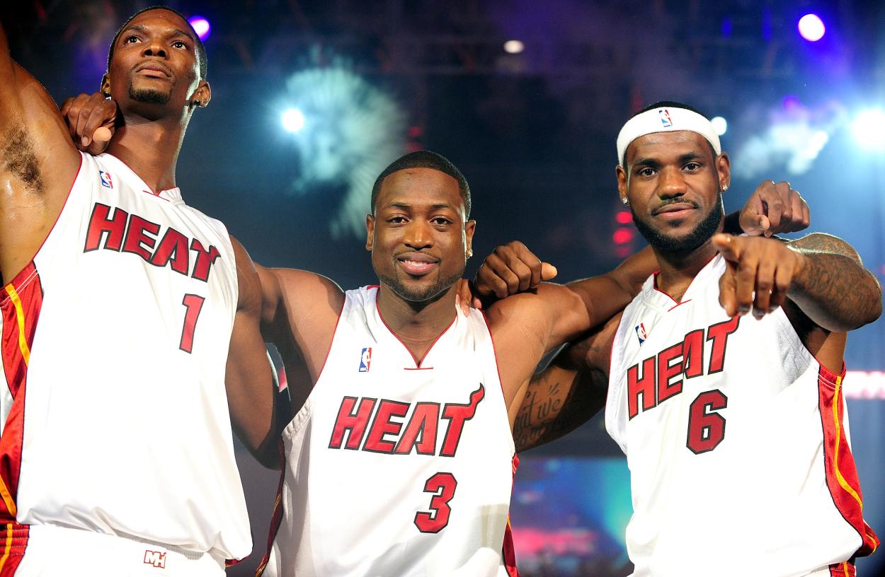 Chris Bosh, Dwyane Wade, and LeBron James on the Miami Heat in 2010.