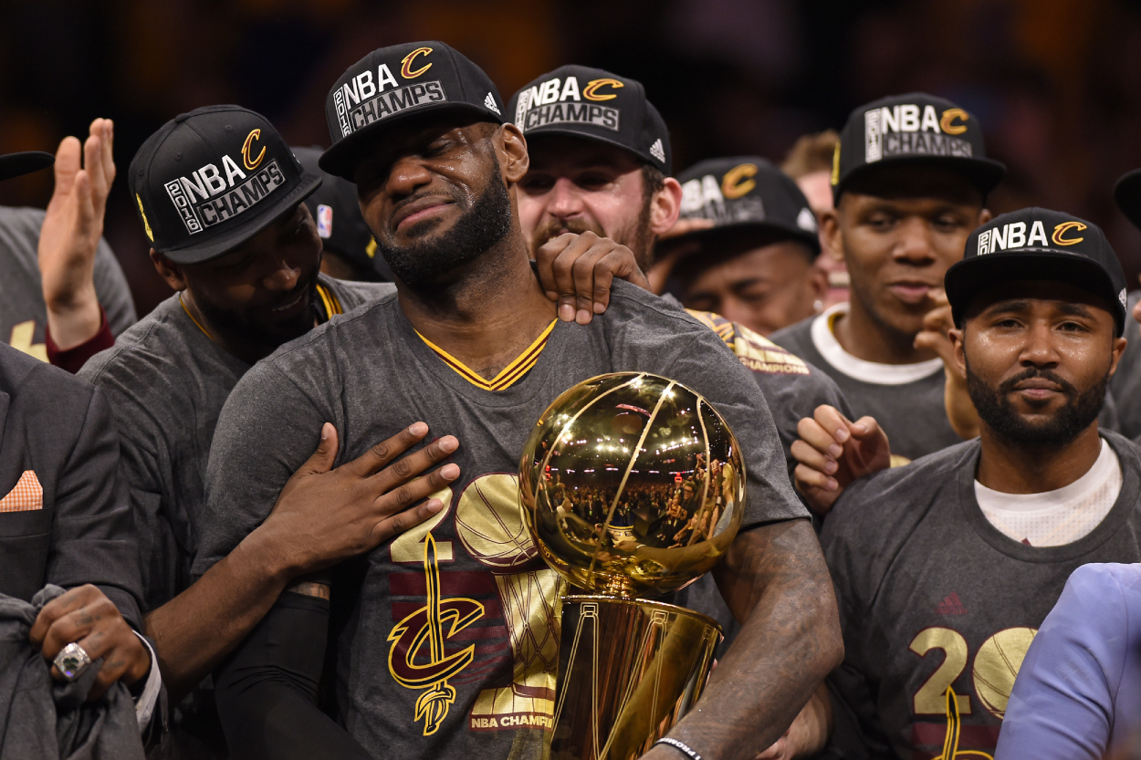 Former Cavaliers star LeBron James after winning one of his four NBA championships.