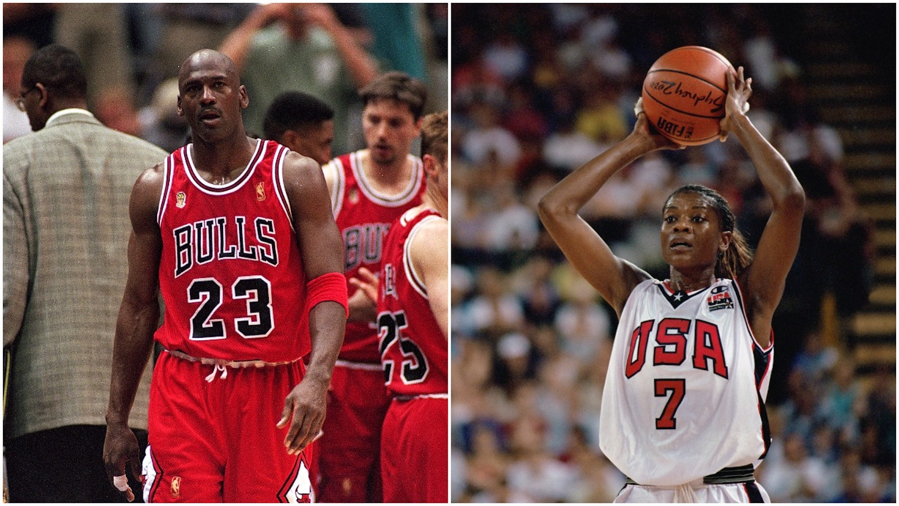 Michael Jordan (L) and Sheryl Swoopes (R) are both basketball legends.