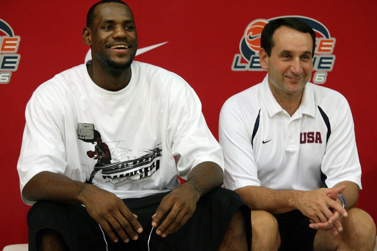 LeBron James (L) and Mike Krzyzewski
