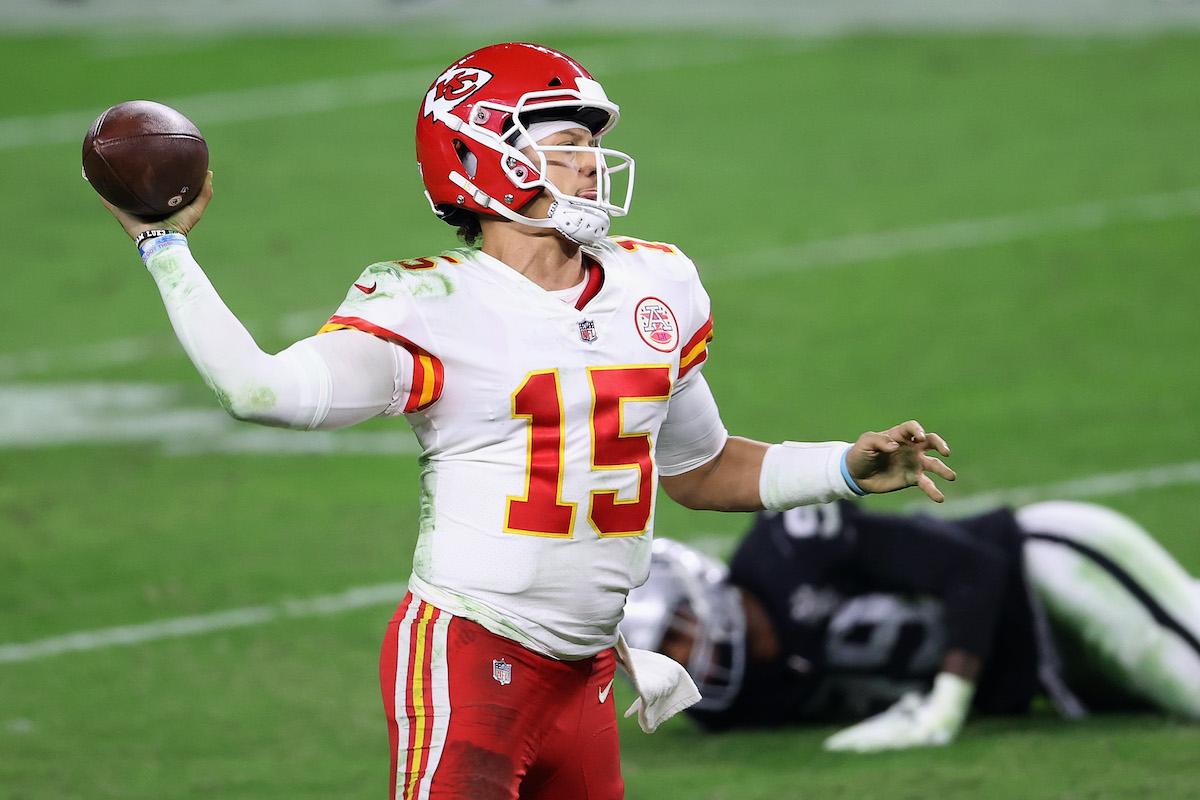 Quarterback Patrick Mahomes of the Kansas City Chiefs throws a touchdown pass