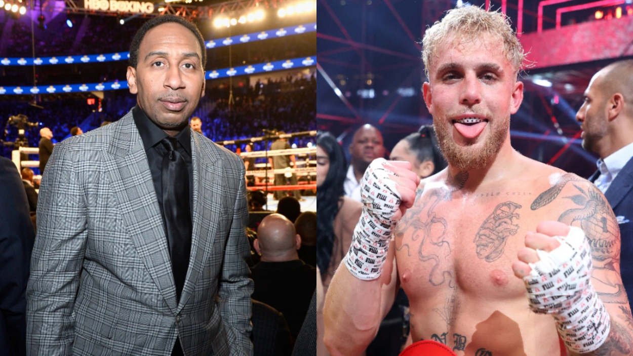 ESPN analyst Stephen A. Smith and internet star Jake Paul, who has recently launched a boxing career.