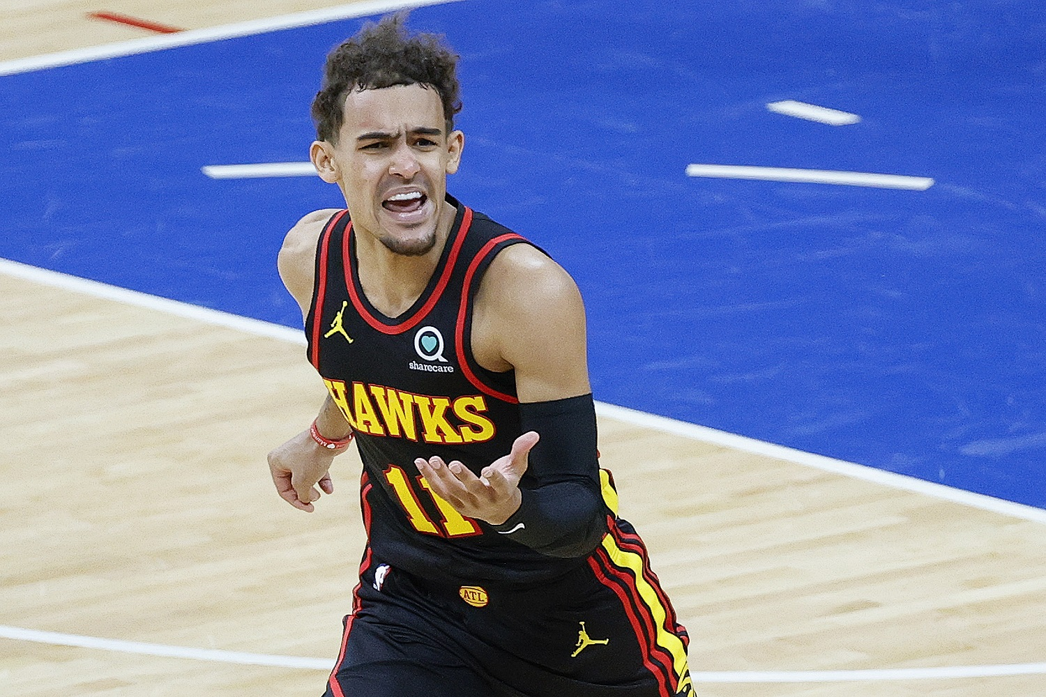 Trae Young helped run the New York Knicks right out of Madison Square Garden and then give the Atlanta Hawks a 1-0 series lead on the Philadelphia 76ers.   Tim Nwachukwu/Getty Images