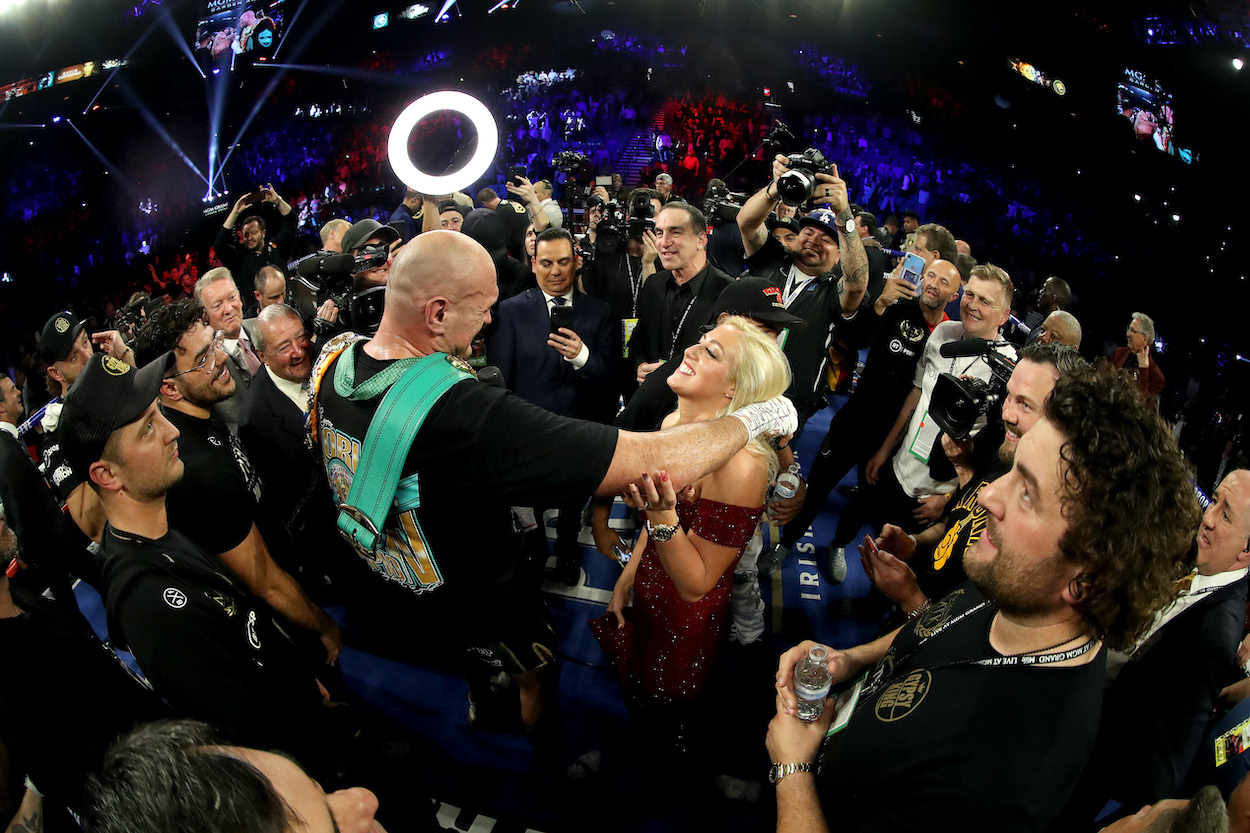 Tyson Fury smiles at his wife Paris Fury following his win by TKO