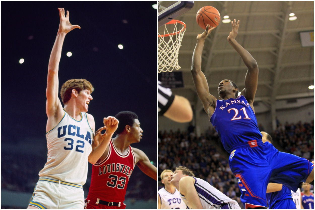 Bill Walton starred at UCLA in the 1970s; Joel Embiid was a standout at Kansas during his lone season there in 2013-14